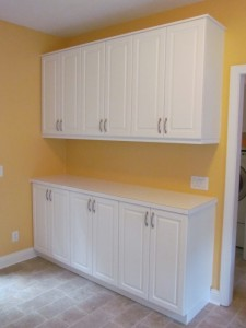 Laundry Room Base and Upper Cabinets in White