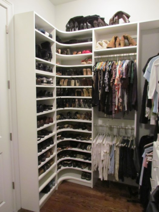 how to make shoe shelves in closet