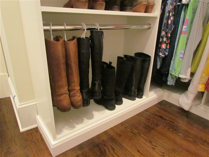 Hanging Boots, Round Chrome Rod Shoe Closet Corner Shelves