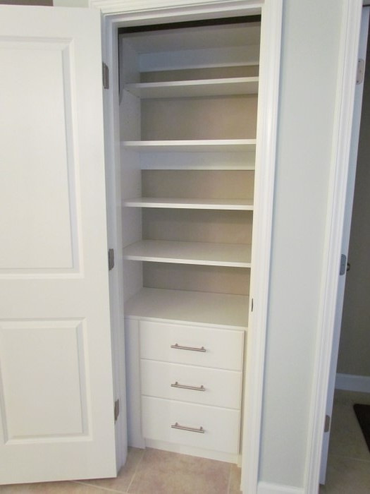 White Shelves, Slab Front, Chrome Contemporary Pull Reach In Closet For  Linens Reach In Closet ...