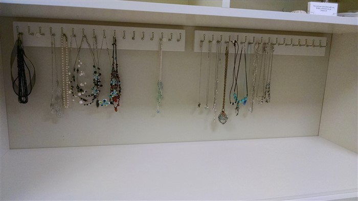 Hutch With Necklace Hooks Close Up