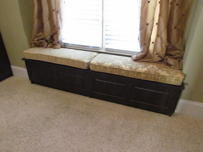 Dark Woodgrain Bench With Cushion. Narrow Window Seat Detail