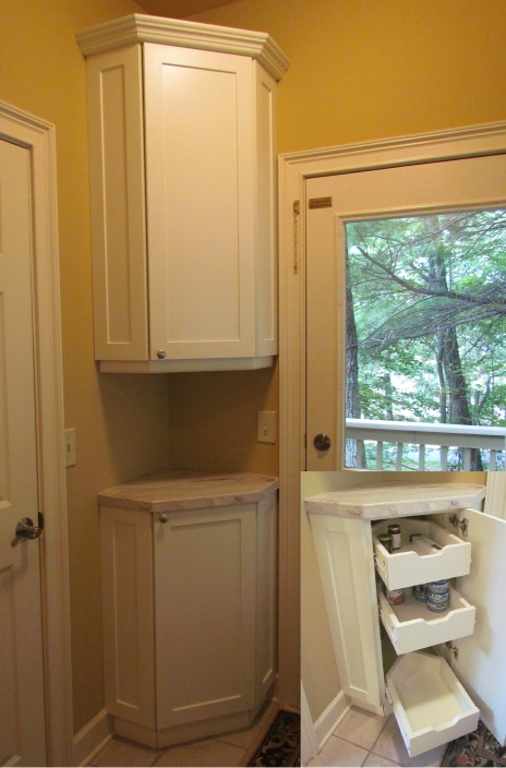 Corner Pantry Base And Wall Cabinets W Granite Top And Custom Angled  Pullouts