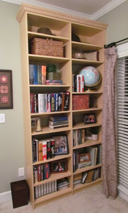 Tall Shelves In Maple Melamine Fill A Corner Next To This Home Office Window