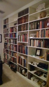 Bookshelves in white melamine fill an entire wall of this home office