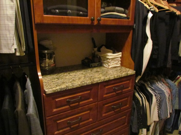 Cherry Hutch With Granite Top, Lexington Drawers And Glass Doors, Classic  Oil Rubbed Bronze Pulls And Knobs ...