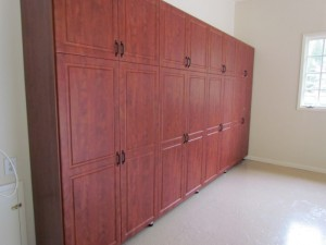 Garage Wall Cabinets with Classic Oil-Rubbed Pulls