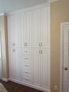 Custom Built-in Bedroom Storage with Classic Satin Nickel Pulls