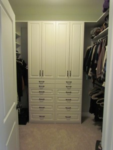 Walk-in Closet Storage Solution with Classic Oil-Rubbed Pulls