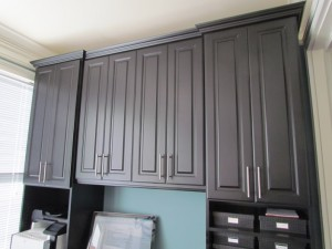 Tall Office Cabinets with Contemporary Satin Nickel Pulls