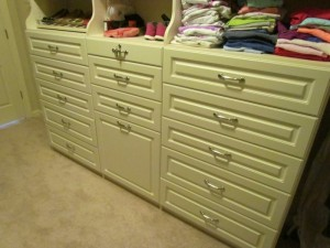 Hutch Drawers and Hamper with Classic Satin Nickel Pulls