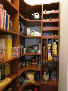 Cherry Pantry with Wine Rack, Tray Dividers and Corner Shelves