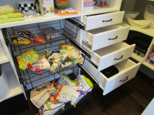 Wire Baskets next to Stacked Drawers - Open