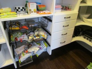 Wire Baskets next to Stacked Drawers - Closed