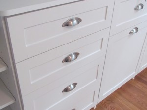 Shaker Fronts with Satin Nickel Cup Pull