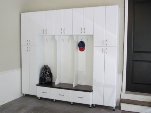 Garage Mud Room, Slab Doors and Drawers with Classic Satin Nickel Pulls