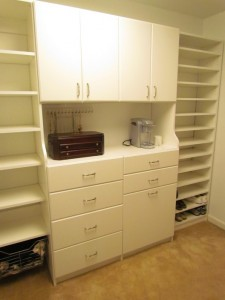 Slab Doors and Drawers with Traditional Satin Nickel Pulls