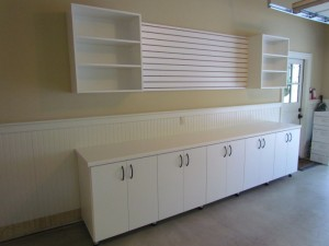 White Garage Cabinets with Countertop and Slatwall