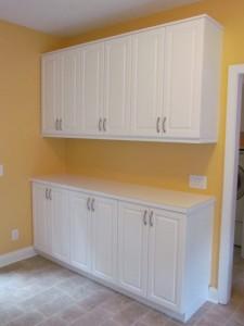Tall Lexington Cabinet Doors, Laminate Countertop and Classic Satin Nickel Pulls