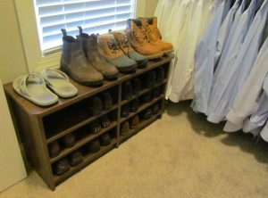 Men's Shoes under Window on Shelf Bench