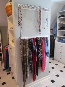 Necklaces on Double Hooks and Scarves on Single Hooks