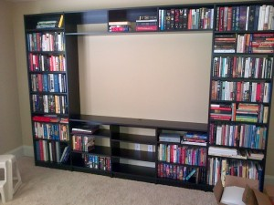 Simple Black Media Center Shelves