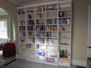 Tall Bookshelves with Crown Molding