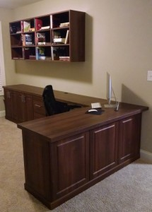 L-Shape Walnut Desk Credenza and Shelves