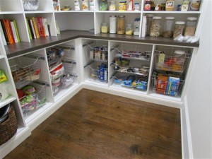 Small Walk-in Pantry with Wire Baskets