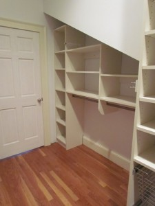 Sloped Nook with Cubbies and Hanging