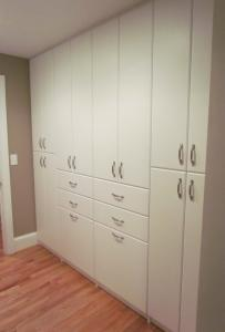 Hall wall of cabinets