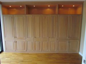 Wall of tall cabinets with Murphy Bed, plenty of storage, and display shelves with lighting