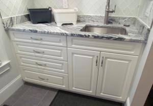 Atlanta Closet Sink Base Marble Top Glass Splash