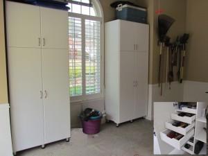 Garage Cabinets Flank Window