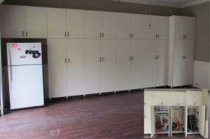 Garage Cabinets with Wheelbarrow