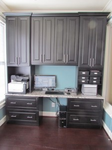 Home Office Desk w Black Raised Panel Fronts & Crown Molding