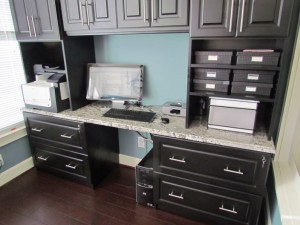 Desk w Black Doors and Marble Top
