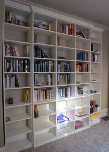Open shelves w crown line a hallway