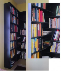 Unique staggered shelves overlap in the corner to make creative and functional use of an awkward nook