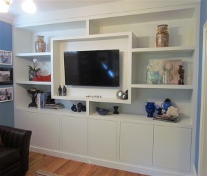 Custom Woodwork TV Wall-of-cubbies
