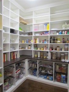 Tall Walk-in Pantry with Crown Molding