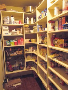 Small Walk-in Pantry with Corner Shelves