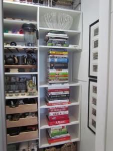 Coffee Pantry with Pullouts and Shelves for Cookbooks