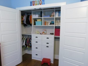Reach-in Closet Hutch and Hamper with Oil-Rubbed Cup Pulls