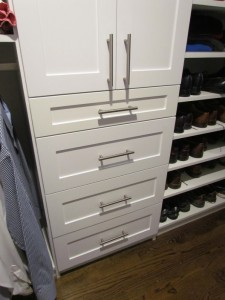 Closet Fronts with Contemporary Satin Nickel Bar Pull