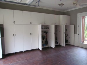 Wall-to-Wall Garage Cabinets with Traditional Oil-Rubbed Bronze Pulls