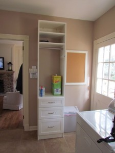 Narrow Laundry Hutch, Stacked Shaker Drawers, Round Satin Nickel Hang Rod and Classic Pulls