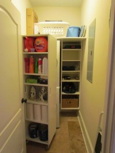 Movable Narrow Shelves in Front of Wall Hung Cubbies