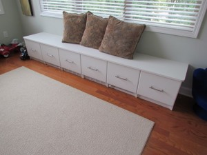 White Playroom Bench with Contemporary Satin Nickel Pulls and Custom Venting