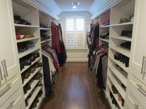 Galley Closet with Crown Molding and Window